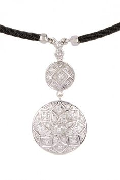 Celtic Noir Diamond Pave Flower Drop Pendant Necklace - 0.23 ctw