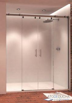 Mampara de ducha Arwen. Frontal con 2 Hojas Fijas y 2 Hojas Correderas. Tratamiento Antical Incluido y Fabricada 100% en España