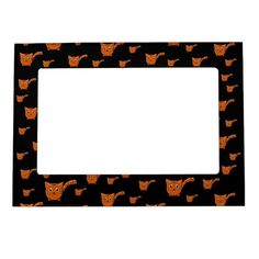 Shop Black & Orange Kitty Pattern Magnetic Frame created by thepawkinglot. Magnetic Picture Frames, Creature Comforts, Cherished Memories, Succulents Diy, Business Supplies, Pet Shop, Colorful Backgrounds, Magnets, Kitty
