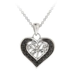 Sterling Silver Black-Diamond Heart Pendant Necklace