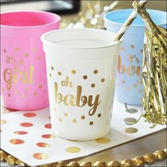 Planning a baby shower or gender reveal party? Our gold and white party cups are…