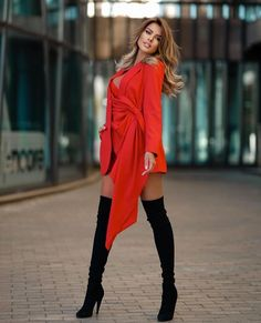 Classy Outfits, Sexy Outfits, Pretty Outfits, Sexy Dresses, Red Fashion, Look Fashion, Girl Fashion, Womens Fashion, Beautiful Legs