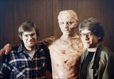 "Making ""The Fly"" (1986) - left to right: Chris Walas (make-up designer), Jeff Goldblum, David Cronenberg (director)"