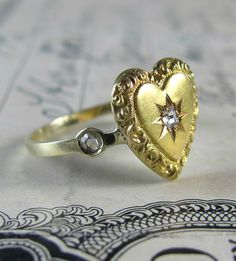 STUNNING and unusual antique Victorian rose cut diamond heart engagement ring, pin conversion ring, diamond ring, statement stacking ring.