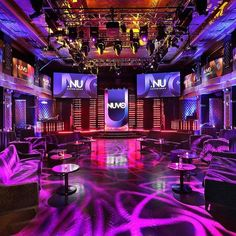Cool set up for a club themed mitzvah party - great lighting and design