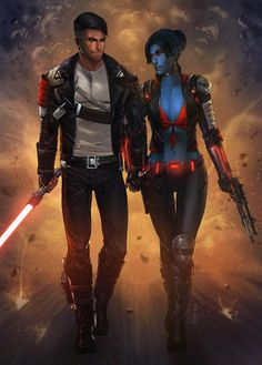 Lord Qrow Fyrefall and Yenny by KaRolding on DeviantArt Star Wars Sith, Rpg Star Wars, Images Star Wars, Star Wars Characters Pictures, Sci Fi Characters, Star Wars Concept Art, Star Wars Fan Art, Star Citizen, Star Wars Collection