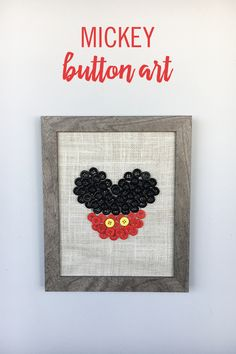 For every young Disney lover, some Mickey room decor is a must. And this DIY Mickey Mouse Button Art is the perfect touch. Glue black, red, and yellow buttons onto burlap, then frame the masterpiece. Walt Disney, Disney Diy, Disney Crafts, Disney Cruise, Disney Stuff, Disney Ideas, Disney Button Art, Disney Buttons, Halloween Crafts For Kids