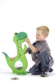 Canicas - BigBellyBank dino money box 2-color 57cm in green - hecho a mano por bigbellybank en DaWanda