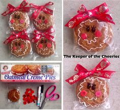 Gingerbread Girl Pre-Packaged Cookies Materials: Little Debbie Oatmeal Creme Pie (or similar cookie) White Paint Pen ( I used a Sharpie one since that is what I have on hand) Black Sharpie Red Christmas Ribbon Red Buttons Hot glue and glue. Kids Christmas Treats, School Christmas Party, Christmas Cookies Gift, Christmas Food Gifts, Christmas Goodies, Homemade Christmas, Simple Christmas, Christmas Ribbon, Red Christmas