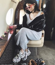 Flying in style: Kylie Jenner took to Instagram to share a photo of herself en route to the music festival inside a private jet