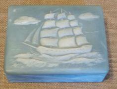 Vintage Trinket Box Design Gifts International Ship 1984 Ship Blue White