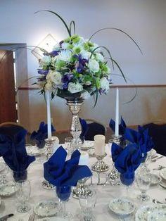 Wedding, Reception, White, Green, Blue, Centerpiece, Silver - Project Wedding