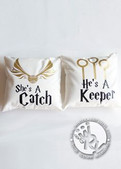 She's A Catch / He's A Keeper Pillow Case Set Harry Potter inspired pillow covers - a White Rabbit Vinyl original ▶ designed & handmade in the US …………………………………………✤ ………………………………………… Perfect as a travel