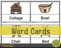 Fairy Tales | Goldilocks: Picture Word Card Activities for Preschool. Goldilocks Activities Include: Color Sheets, Create a Scene, I Can Draw, Fine Motor Skills, Label the Picture, Letter Sort, Beginning Letter Sounds, Scenic Puzzle, Ten Frame Game, What's Next, and Word Cards. #education #picturewordcards #preschool #playtimefelts #preschoolprintables #fairytales #Goldilocks #storytime