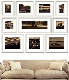 Set of Ten Sepia Framed Ben Wood Auto Racing Prints-FREE SHIPPING! from www.wellappointedhouse.com #homedecor #decorate #wallart #wallbrackets #plateholders