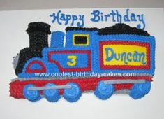 Homemade Thomas The Train Birthday Cake: Since I couldn't find a Thomas the Train cake pan, and I needed to do the cake within a few days, I bought the Wilton train cake pan.  It wasn't the same