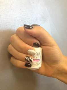 No chip manicure: black pool shellac with glitter accent nail and black pool stripes
