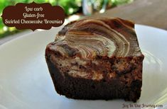 """Low Carb Swirled Cheesecake Brownies  (""""S""""/Satisfying style for those following Trim Healthy Mama)"""
