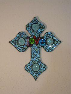 Love Beautiful Blues Mosaic Glass Wall Cross. $35.00, via Etsy.