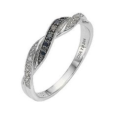 I love this one:) - 9ct white gold black and white diamond twist ring