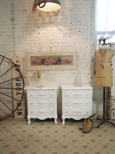 Painted Cottage Chic Shabby White Romantic by paintedcottages, $520.00