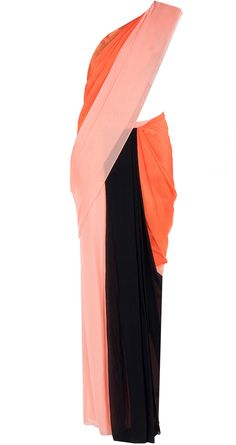 Coral pre-stitched sari with printed blouse available only at Pernia's Pop-Up Shop.