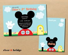 mickey mouse clubhouse // birthday party invitation and thank you card