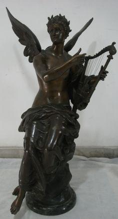 Max Bourgeois - Harpista, excepcional escultura em bronze patinado c/ base em mármore, med: A: 79