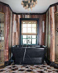 Black marble bath.  Kelly Wearstler.  Elle Decor, September, 2012.