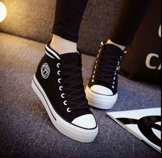 2015 New Korean Women's High-top Lace-up Platform Casual Canvas Sneakers Shoes …. 2015 New Korean Women's High-top Lace-up Platform Casual Canvas Sneakers Shoes … – the High Top Sneakers, Sneakers Mode, Sneakers Fashion, Fashion Shoes, Shoes Sneakers, Shoes Heels, Hightop Shoes, Wedge Sneakers, Fashion Outfits