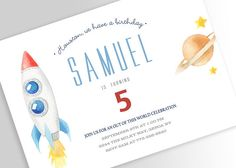 Outer Space Birthday Invitation Space Birthday Planet
