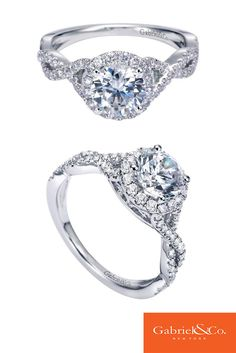 A gorgeous 14k White Gold Diamond Halo Engagement Ring by Gabriel & Co.