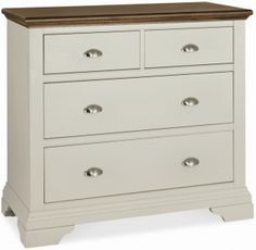 Bentley Designs Hampstead Soft Grey and Walnut Chest of Drawer - 2+2 Drawer