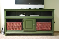 before and after pics...dresser to console for TV & game storage  @ Holly Wilcox