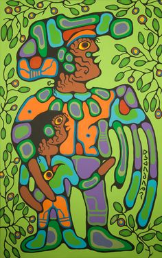 Canadian Modern Art - Grandfather With Child - Norval Morrisseau Native American Artists, Canadian Artists, Canadian Painters, Aboriginal Culture, Aboriginal Art, Les Religions, Native Design, Indian Artist, Indigenous Art