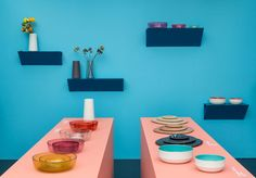 blie+blue+terracotta+yellow+etc Discipline Design Milan 2014 showroom