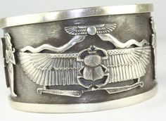 LARGE VINTAGE EGYPTIAN EGYPT STERLING SILVER WIDE CUFF BRACELET HEAVY #WIDECUFF