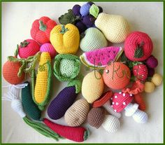bunch of crochet food inspiration: another Montessori sensorial experience. No plastic toys at the Montessori.