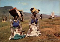 Continental Chrome Postcard Tribal life - Colourful Xhosa women in the Transkei (South-Africa)