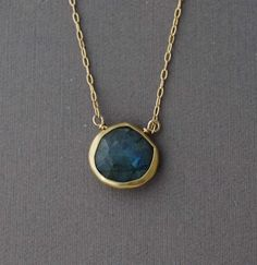 Small Labrodite Stone Bezel Set Gold Necklace. $40.00, via Etsy.