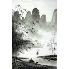 "Chinese Landscape Painting ""Herding Near Clear Lake"" Chinese Paintings and calligraphy for sale"