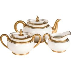 Antique/Vintage: Limoges Tea Set, White & Gold, Greek Key Pattern, France - Pouyat (porcelain) in the Athena pattern: Teapot, sugar bowl, cream pitcher - Late 19th c./early 20th c. (circa 1891 to 1932) French teapot, tea pot