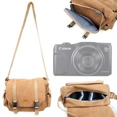 DURAGADGET Light Brown Carry Bag for Canon Powershot SX530 HS/Canon Powershot SX610 HS/Canon Powershot SX710 HS - With Multiple Adjustable Storage Compartments, Multiple Pockets & Long Shoulder Strap. Made from durable, water-resistant canvas material, this case can protect your expensive camera from the damaging elements - perfect for on the go storage whilst travelling!. Perfect for safely storing your DSLR camera body, lenses, flash diffusers and other small accessories. Front zipped...