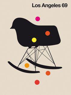 graphic design, modern chair, bo lundberg, chairs, angel 69, eames, art prints, poster, los angeles