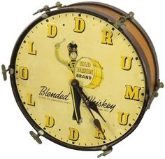 Old Drum Brand Whiskey Advertising Clock : Lot 911
