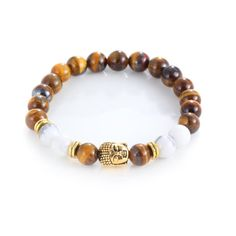 Blue Pearls - Tiger Eye Stretch Men - Women Bracelet and Gold Buddha Head - BPS 0934 Y -- Awesome products selected by Anna Churchill