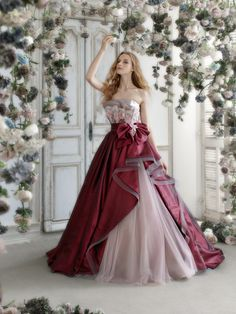 Pink tulle burgundy Hardy Amies London Ball Gown