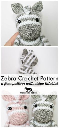 Free Crochet Zebra Pattern is complete with many video tutorials to help you learn the best way to change those stripes! Super cute and fun this is a favorite pattern for sure!