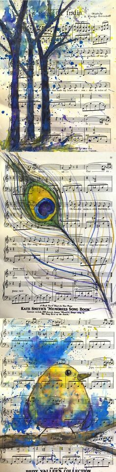 Original paintings on upcycled sheet music by Deana Diefenbach. Trees, peacock feather, and yellow bird.   https://www.etsy.com/shop/BellaCosaArt