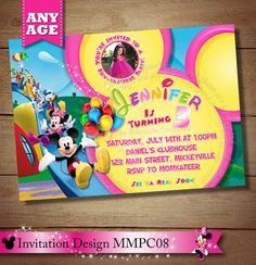Girl's Mickey Minnie Mouse Clubhouse Birthday Invitation.